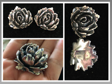 Vintage 3d Large Round Rose Flower Puffy Sterling Silver .925 ClipOn Earrings