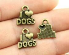 10 I Love Dogs Charms, Antique Bronze Tone Charms