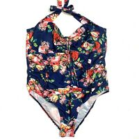 Floral Halter One Piece Ruched Swimsuit Swimwear Plus Size 2x
