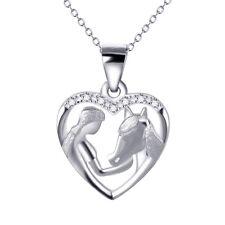 Herz Mädchen Pferdekopf Pferd Sterling Silber 925 Anhänger mit Kette 45 cm