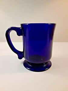 Vintage Cambridge Ohio Mosser Cobalt Blue Footed Cup Mug Detailed Handle