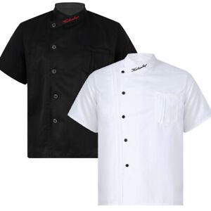 Men's Chef Jacket Coat Uniform Short Sleeve Restaurant Work Cook Kitchen Tops