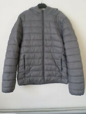 Mens Primark Workout Grey Ultra Lightweight Quilted Hooded Jacket Size: M