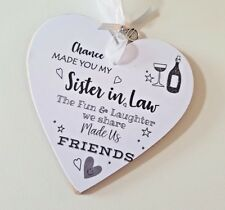 Personalised to Sister In Law Personalised Plaque Sign Bottle tag gift pouch Rf