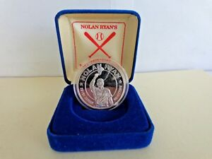 1993 Nolan Ryan 7 No Hitters Silver Coin 999. Once of Fine Silver LIBERIA