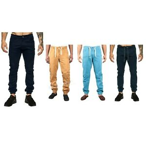 Men's Enzo Cuffed Jeans Slim Fit Chinos 28 30 Zip Fly Elasticated Waist Trousers