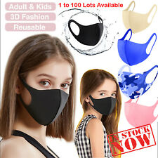 Breathable Surgical Mask Washable Black Reusable Face Mouth Protection UK LOT
