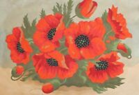 Antique watercolor painting still life poppy flowers