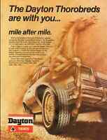 1970s vintage automobile tire ad, Dayton 'Thorobred' Tires -122212