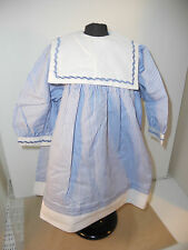 "24"" OLD STORE STOCK BLUE & WHITE STRIPED DOLL DRESS W/SQUARE COLLAR & PANTIES"