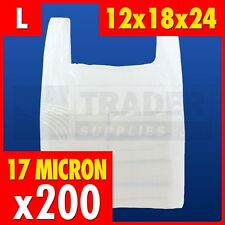 200 x Large White Plastic Vest Carrier Bags Supermarket 12 x 18 x 24in 17 micron