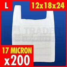 200 X Grande Plástico Blanco Chaleco Bolsas Supermercado 30.5x45.7x61cm 17