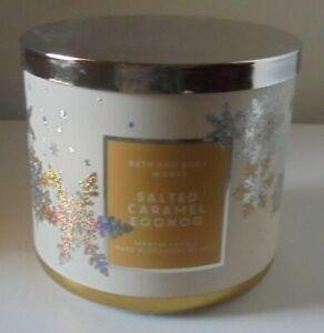 BATH & BODY WORKS SALTED CARAMEL EGGNOG 14.5oz JAR CANDLE ~ SO DELICIOUS!