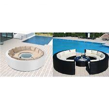 Divano rotondo scomponibile nero beige 10 posti tavolino vetro esterni piscina|D