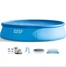 Intex 18ft x 48in Easy Set Pool with Filter Pump, Ladder, Ground Cloth & Cover