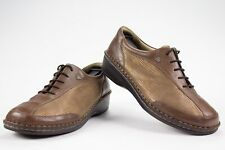 Finn Comfort Germany Soft Hanoi Brown Leather Gold Lace Ups Womens Sz 38 US 7.5