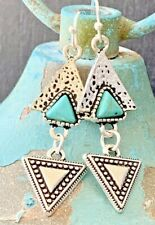 Etched Silver and Turquoise Dangle Earrings.  Boho Chic.