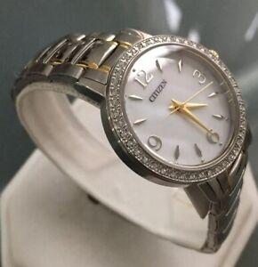Ladies Genuine Citizen Designer Watch White Mop Swarovski Crystals Two Tone