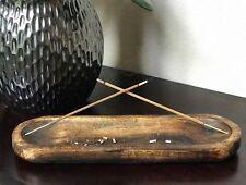 11 Inch Wood Handmade Incense Burner Double Incense Holder Incense Ash Catcher.