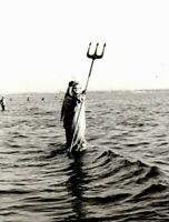 PHOTO VINTAGE costume Neptune masquerade freak mask Odd strange unusual E07