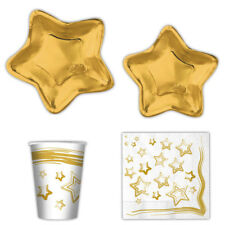 KIT PER LA TAVOLA STELLA ORO FESTA PARTY NATALE CAPODANNO PIATTI GOLD STAR