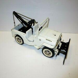 1967 Tonka White Jeep Wrecker & Plow Truck Pressed Steel Vintage Toy