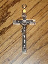 Antique Inlaid Ebony Pectoral Crucifix w/ Skull & Cross Bones. Germany.