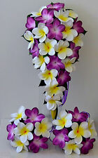Silk wedding bouquet latex frangipani purple white yellow flowers teardrop set
