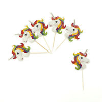 24x Unicorn Cupcake Toppers Picks Kids Birthday Party Baby Shower Party Decor LS