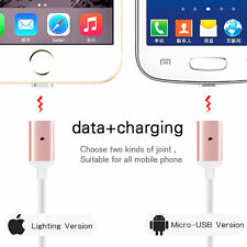 2 in 1 Metal Micro USB Magnetic Charger Charging Adapter Cable Android iPhone6 7