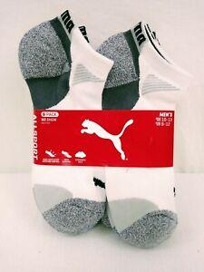 PUMA AllSport Cotton Blend No Show White/Grey Mens Socks Size 10-13