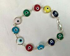 EVIL EYE  Bracelet with Multi Color Evil Eye Beads Bracelet Sterling Silver