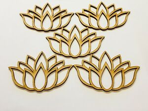 5x Lotus Flower Size 100mm x 65mm Mdf Wooden Craft Blank Laser Cut