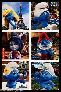 THE SMURFS Stickers x 6 - Favours - Birthday - Loot Bag - Blue - SMURFS 2 MOVIE