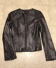 Vakko VS Metallic Gunmetal Grey Leather Jacket ~ XS