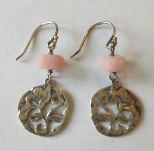 Silpada Sterling Pink Rose Quartz Flower Dangle Earrings