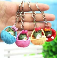 Japanese Lucky Bowknot Basket Cats Keyring Keychain Key Ring Chain Gift 1pc