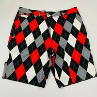 Royal And Awesome Mens Red Grey Black White Harlequin Print Golf Shorts Size 38