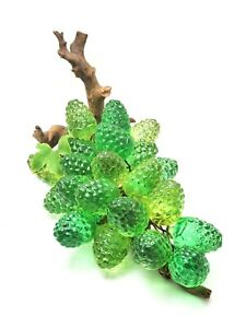 "Vintage Green Acrylic Lucite Berry Cluster on Driftwood 12"" Long"