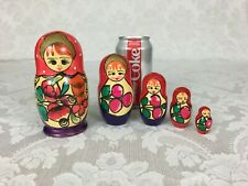 Vintage Wood Russian Nesting Dolls Hand Painted Set of 5