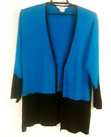 Exclusively Misook Open Front Cardigan Womens Plus Size 3x Bright Blue & Black