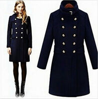 Womens British Parka Wool Blend Double-breasted Military Long Jackets Coats Slim