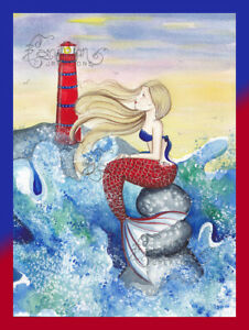 Windy Sunset Mermaid & Lighthouse print from Original Painting By Grimshaw