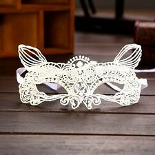 NEW Fancy White Cat Mask Lace Party Ball Masquerade Mardi Gras FIFTY 50 SHADES