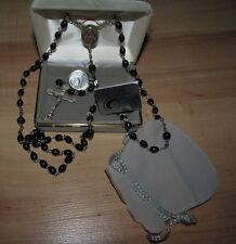 New Vintage Malco Excelsior Rosary 7mm Cocoa Beads Sterling Silver Sacred Heart