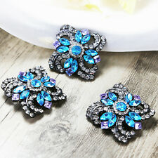 Wholesale 10x Vintage BLUE Crystal Rhinestone Brooch Pins Bridal Wedding Bouquet
