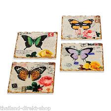 Untersetzer Schmetterling Papillion 4er Set Keramik Vintage Style Shabby Kacheln