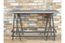 Industrial Console Table Galvanised Metal Top With Basket Storage 120 cm Wide