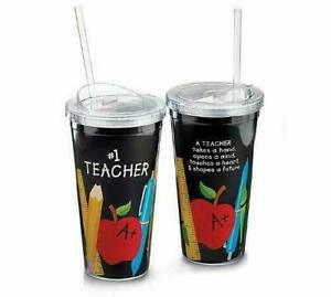 Burton #1 Teacher Appreciation 20 oz. Travel Mug Sippy Cup with Straw Acrylic