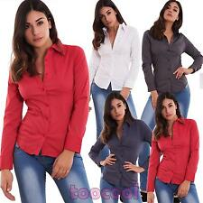 Camicia donna avvitata righe bottoni colletto cotone basic business nuova TC001